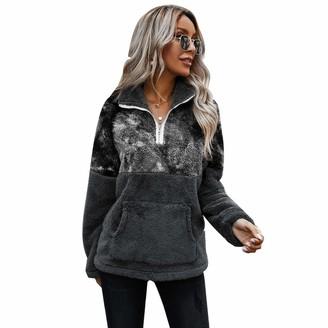 TURMIN Women Girls Ultra Soft Pullover Casual Fluffy Sweatshirt Long Sleeve Oversized Cozy Warm Top Teddy Sherpa Fleece Jumper with Pocket for Winter-Dark Grey-L