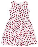 Oscar de la Renta Red Carnation Print Party Dress