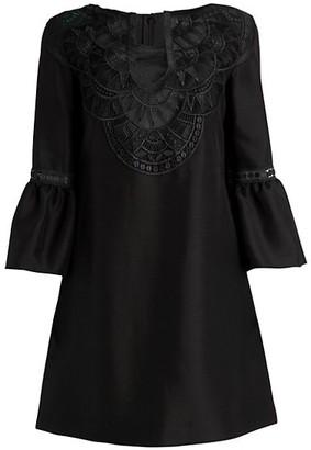 Alberta Ferretti Bell-Sleeve Embroidered Tunic Dress