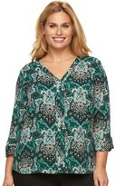 Dana Buchman Plus Size High-Low V-Neck Top