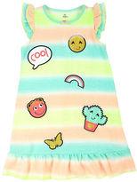 Petit Lem Emoji Stripe Roundneck Nightgown