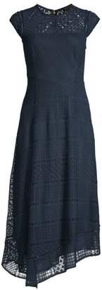 Donna Karan Asymmetric Hem Lace Midi Dress