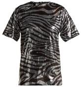 Halpern Zebra-patterned Sequinned T-shirt - Womens - Silver Multi