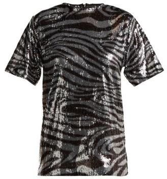 Halpern Zebra Patterned Sequinned T Shirt - Womens - Silver Multi