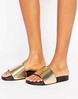 Glamorous Metallic Gold Snake Print Slide Flat Sandals