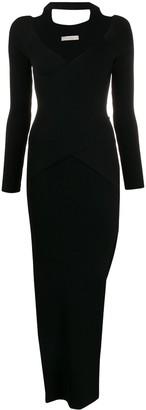 Ssheena V-neck side slit dress