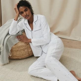 The White Company Moon-&-Star-Print Pyjama Bottoms, White Navy, Extra Small