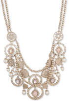 """Marchesa Gold-Tone Stone, Imitation Pearl and Pave Multi-Row Statement Necklace, 16"""" + 3"""" extender"""