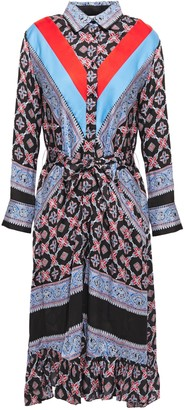 Sandro John Belted Cady-paneled Printed Twill Shirt Dress