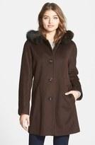 Ellen Tracy Women's Kimono Sleeve Jacket With Genuine Fox Fur Trim