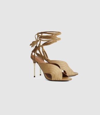 Reiss Minerva - Braided Ankle Strap Sandals in Gold