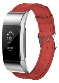 Posh Tech Unisex Fitbit Charge 3 Red Genuine Leather Watch Replacement Band
