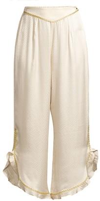 Morgan Lane Margo Crop Embroidered Ruffle-Trim Stretch-Silk Pants