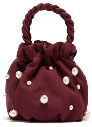 STAUD Grace Faux Pearl-embellished Twill Bag - Womens - Burgundy