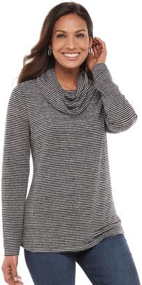 Croft & Barrow Women's Print Cowlneck Sweater