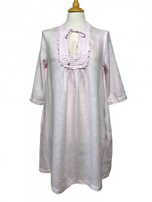 120% Lino Pink Linen Dress for Women