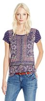 Lucky Brand Women's Plus Size Painted Border Tee