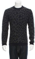 Raf Simons Leopard Patterned Crew Neck Sweater