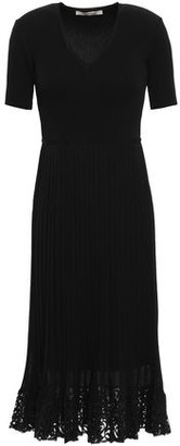 Roberto Cavalli Pleated Lace-trimmed Ribbed-knit Dress