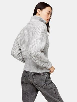 Topshop Half-Zip Jumper - Grey