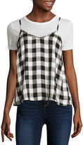 Self Esteem Short-Sleeve Buffalo Plaid Layered Top - Juniors