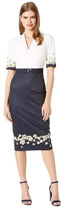 Ted Baker Avii Pearl V-Neck Bodycon Dress (Dark Blue) Women's Clothing