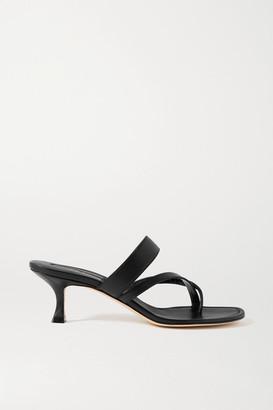 Manolo Blahnik Susa Leather Sandals - Black