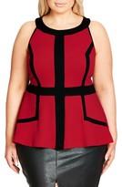 City Chic Plus Size Women's Textured Peplum Top