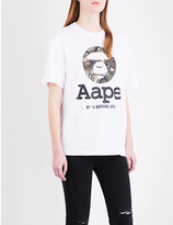 Aape Moonface logo-print cotton-jersey T-shirt