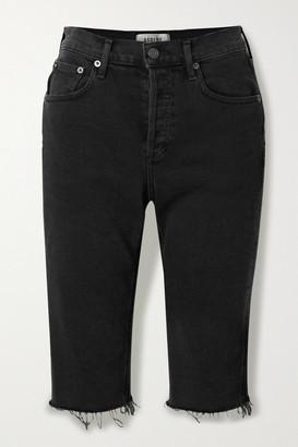 AGOLDE Carrie Frayed Denim Shorts - Black