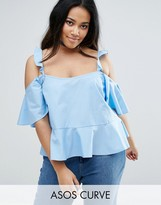Asos Cotton Sun Top With Ruffle Cold Shoulder