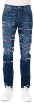 Alexander McQueen Straight-Leg Slashed Selvedge Denim Jeans, Blue