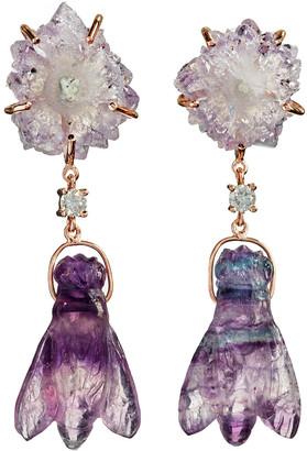 Jan Leslie 18k Bespoke 2-Tier Tribal Luxury Earrings w/ Stalactite, Hand-Carved Fluorite Bee & Diamonds