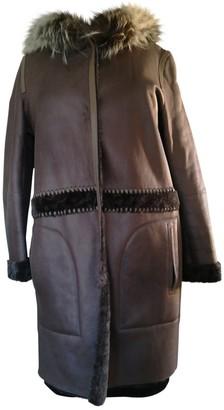 Yves Salomon Brown Leather Coat for Women