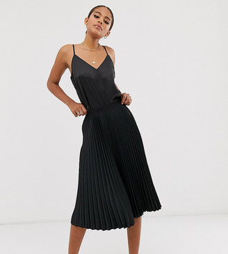 Outrageous Fortune Tall midi pleated skater skirt in black
