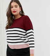 New Look Plus Curve colour block jumper in red