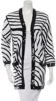 Chanel Embellished Striped Cardigan