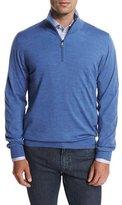 Brioni Wool Half-Zip Sweater, Light Blue