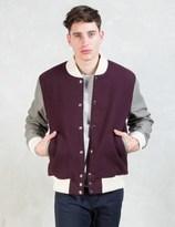MKI MIYUKI ZOKU Burgundy/Grey Classic Varsity Jacket