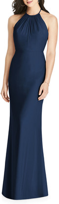 Dessy Collection Chiffon Halter Dress w/ Ruffle-Trim