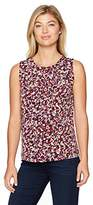 Nine West Women's Mini Abstract Ity Pleat Neck Blouse