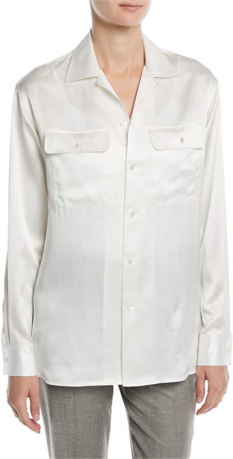 Ralph Lauren Tilery Long-Sleeve Button-Down Silk Shirt
