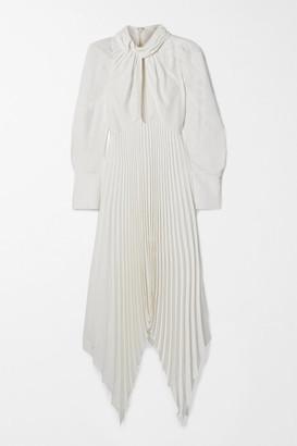 KHAITE Bryn Asymmetric Cutout Pleated Crepe Dress - Ivory