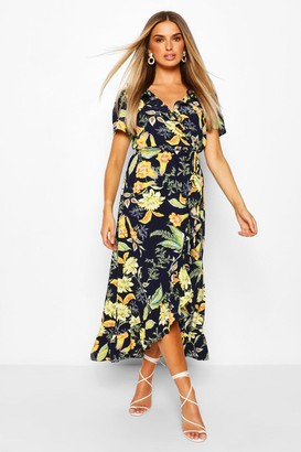 boohoo Floral Print Ruffle Detail Midaxi Dress