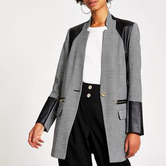 River Island Womens Grey herringbone faux leather blocked blazer