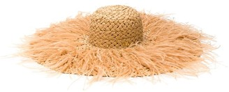 Valentino Feathered Straw Hat