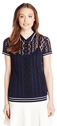 Minnie Rose Women's Prep School Burnout Cable Polo
