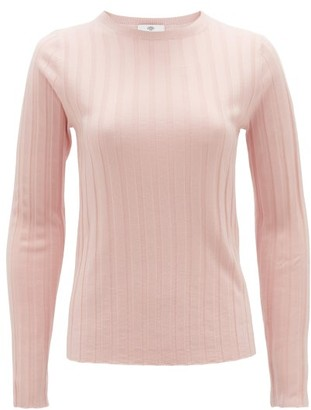 Allude Round-neck Ribbed Wool Sweater - Womens - Light Pink