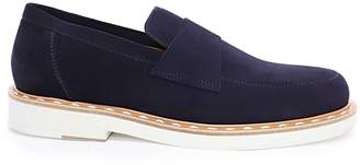 Jimmy Choo BANE Navy Dry Suede Casual Loafer with Stitched Welt Detailing