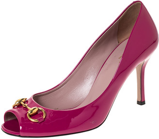 Gucci Pink Patent Leather Horsebit Peep Toe Pumps Size 39